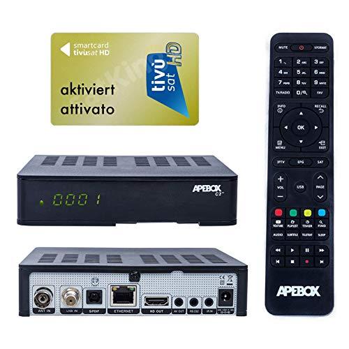 Apebox C2 4K UHD 2160p Combo Satelliten Kabel DVB-S2X & DVB-T2/C Multistream Receiver geeignet für Tivusat Mediaset IPTV Mediplayer Receiver mit AKTIVIERTE TIVUSAT Karte