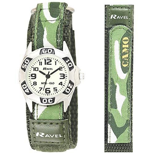 Ravel -Leicht zu befestigende Kinder-Armee-Tarnschutzuhr, leuchtet im Dunkeln, mit aktionssicherem Armband