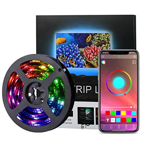 AMIR LED Streifen 2M, RGB LED Strip Steuerbar via App, Wasserdichtes Lichtband mit 16 Millionen Farben, Sync mit Musik, TV Hintergrundbeleuchtung für 40-60 Zoll HDTV, PC Bildschirm, Party