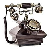 ZARTPMO Retro Handy aus Holz & Metall Handy mit echter, rotierender Wählscheibe & Metallklingel