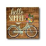 prz0vprz0v - Señal de Bienvenida para Puerta Delantera, decoración de Porche de Verano, decoración de Entrada, Letrero de Bicicleta Vintage, decoración de Mantel, 30,5 x 30,5 cm