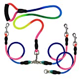 Dual Dog Leash,6.6 ft 3 Dog Leash Triple Large Dog Leash,360°Swivel No Tangle Double Dog Walking Training Leash,2-Way & 3-Way Interchangeable Lead with Hand-Protected Handle for 3/2/1 Dog(Multi-Color)