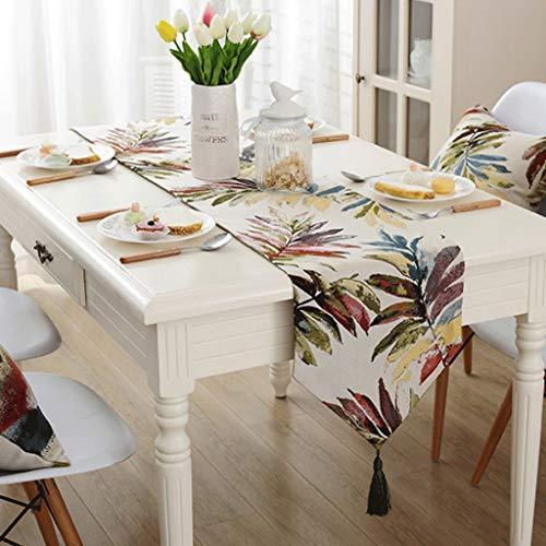 YXN Pastorale tafelloper met stijlvolle kwast eettafel vlag, geschikt voor eettafel, salontafel, tv-kast