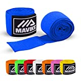 MAVIKS Boxing Bandages Hand Wraps for Martial Arts Kickboxing Muay Thai MMA Training Sparring Men Women Inner Gloves Mitts Fist Protector Thumb Loop - Adult 180 Inch (Royal Blue)