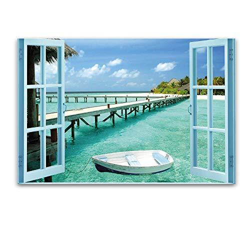 Startonight Cuadro sobre Vidrio La Ventana al Paraíso Acuático, Impresion en Calidad Fotografica Pintura Listo Para Colgar Diseño Moderno Decoración Formato Grande 60 x 90 CM
