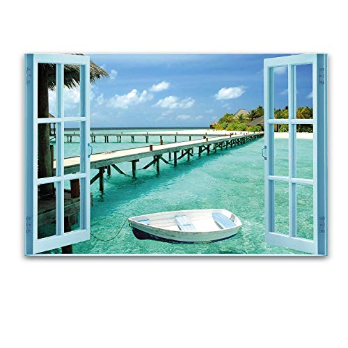 Glass Wall Art Startonight - Acrylic Window to Paradise Beach, 23.62 X 35.43 Inch The Ultimate Wall Art