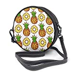 naotaori Bolso redondo mujer Round Crossbody Bag Pineapples Handbag Purse Single Shoulder Bag Sling Bag