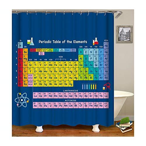 Aeici Duschvorhang 165X180 cm Periodensystem Polyester Duschvorhang Antischimmel Bunt Duschvorhang für Badezimmer
