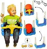 alles-meine.de GmbH mitwachsende - Babyschaukel / Gitterschaukel mit Gurt - Kinderschaukel ab 1,5 Jahre - mit Rückenlehne & Seitenschutz - Schaukel für Kinder - Innen und Außen /..