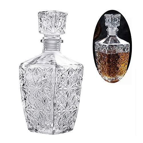UKE Copa De Vino Decanter, Hecho A Mano De Cristal De Whisky Decanter 800Ml - con El Tapón del Vino Aireador De Vino Vertedor para Brandy/Whisky/Champagne