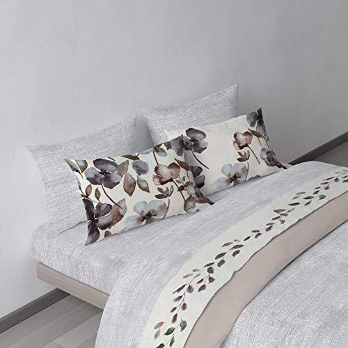 COGAL – Juego de sábanas de matrimonio – Flower Power – Estampado floral colorido, disponible en varios colores, material 100% algodón – Fabricado en Italia