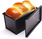 Pullman bread loaf Pan with Lid - Non-Stick Bakeware Carbon Steel Bread Toast Mold Rectangle...