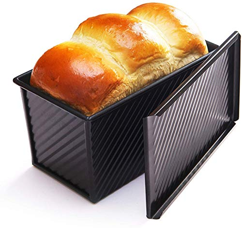 Pullman bread loaf Pan with Lid - Non-Stick Bakeware Carbon Steel Bread Toast Mold Rectangle Corrugated Toast Box for Oven Baking 8.2x4.7inch (Black)