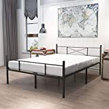 HAAGEEP King Size Bed Frame with Headboard and Footboard Black Metal Platform Bedframe with Storage No Box Spring Needed 14 Inch High