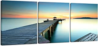 Wieco Art 3 Piece Seascape Canvas Prints Wall Art Sunset Ocean Beach Pictures Paintings for Kitchen Bedroom Home Wall Decorations Bridges over the Sea Modern Stretched and Framed Giclee Artwork