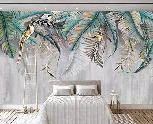 Fototapete 3D Effekt Tapete Tropische Pflanze Blätter Blüten Und Vögel Vliestapete 3D Tapeten Wanddeko Wandbilder Wohnzimmer,350cmX256cm