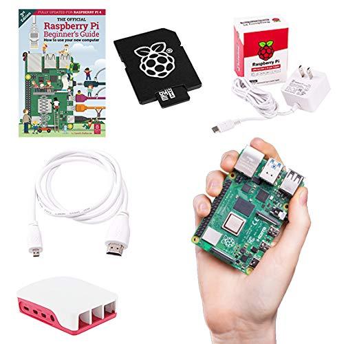 Raspberry Pi 4B 4GB RAM 32GB Speicher Official Essentials Starter Kit mit 32GB Noobs Micro SD Karte, Pi 4 Hülle, HDMI zu Micro HDMI Kabel, 15W USB-C Netzteil und Anfängeranleitung (4GB RAM)