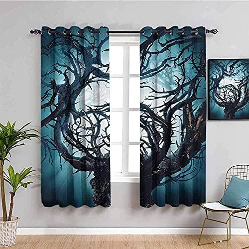 LTHCELE Blickdicht Vorhang für Schlafzimmer - Blau Bäume Kunst Kreativität - 3D Druckmuster Öse Thermisch isoliert - 150 x 166 cm - 90% Blickdicht Vorhang für Kinder Jungen Mädchen Spielzimmer