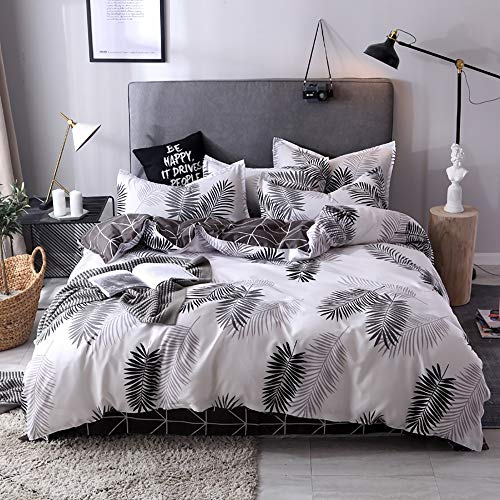Faus Koco Trapunta Feather Grey/Bianco Active Printing e tintura Aloe Cotton Skin Kit Bedroom Bedding Four Piece Federa * 2 / Lenzuolo/Copripiumino (Size : B)