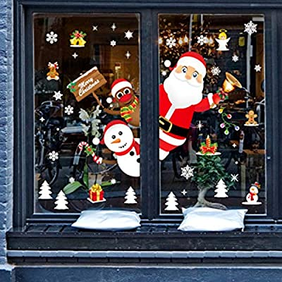 PLAZALA Christmas Window Clings Winter Holiday Christmas Decorations Christmas Snowflake Window Sticker Santa Claus Snowman Reindeer Window Decals for Christmas Party Supplies
