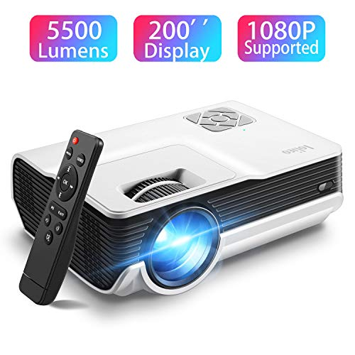 Mini Projector,Iolieo 5500 Lumen 1080P Supported Home Projector,200