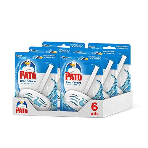 PATO Bloc Limpiador y Ambientador Para Inodoro, Colgador + Recambio, Azul Fresco, Pack de 6 Unidades