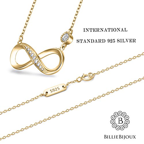 """Billie Bijoux 925 Sterling Silver Necklace Forever Love"""" Infinity Heart Love Pendant White Gold Plated Diamond Women Necklace Gift for Mother's Day (B-Gold)"""