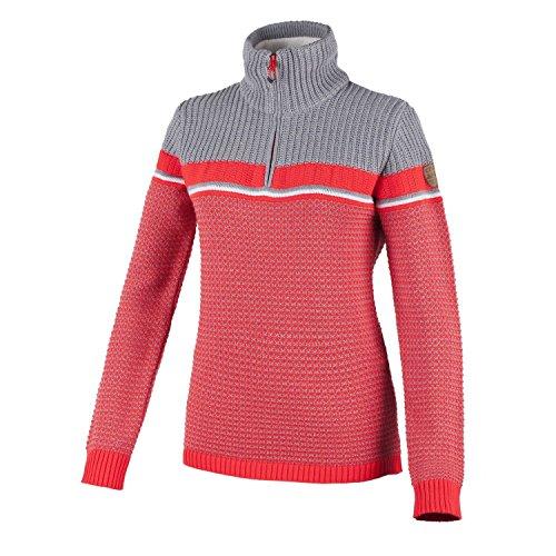 F.LLI CAMPAGNOLO Damen Knitted norweger Strick Pullover Windstopper grau rot, Größe:44