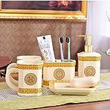 HNLY Set de baño, dispensador de jabón de cerámica, Taza de Enjuague bucal, portacepillos, Porta jabón, Set de Lavado, decoración de baño