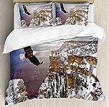 África Juego de funda nórdica, vista aérea de águila calva volando en el gran cañón cubierto de nieve, Rocky Arizona, EE. UU., Juego de cama decorativo de 3 piezas con 2 fundas de almohada, blanco mar
