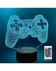 Spel 3D lamp, CooPark Illusion Hologram nachtlampje met 16 kleuren veranderen Afstandsbediening Dimmerfunctie, Spel thema Slaapkamerdecoratie Cadeaus voor jongens meisjes