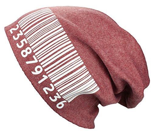 2Store24 Bonnet Jersey Long/Slouch Barcode en rouge chiné