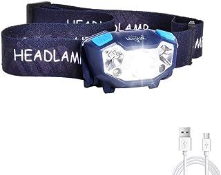 Linterna Frontal LED Recargable, LETOUR Antorcha giratoria con sensor de movimiento, IP65 impermeable, 350 Lumen para camp...