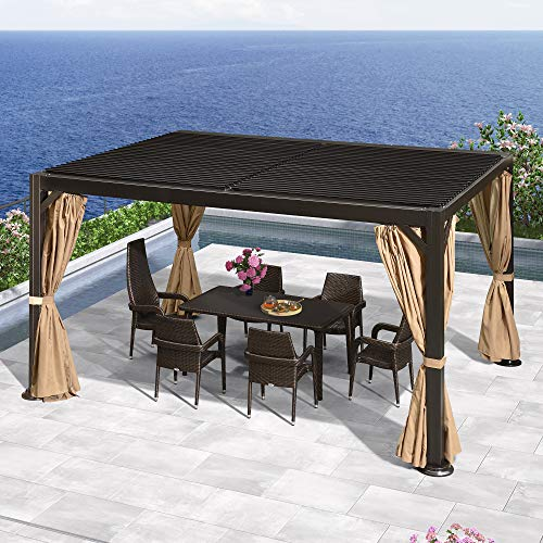PURPLE LEAF Outdoor Louvered Pergola 10' × 13' Permanent Hardtop Gazebo for Patio Lawn Garden Deck Hot Tub with Adjustable Roof, Curtains and Netting Included