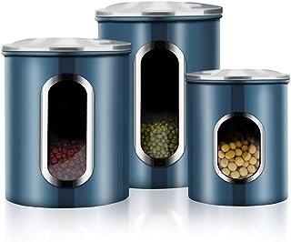 Canisters Set, 3 Piece Window Kitchen Container with Fingerprint Resistance Lids, Blue