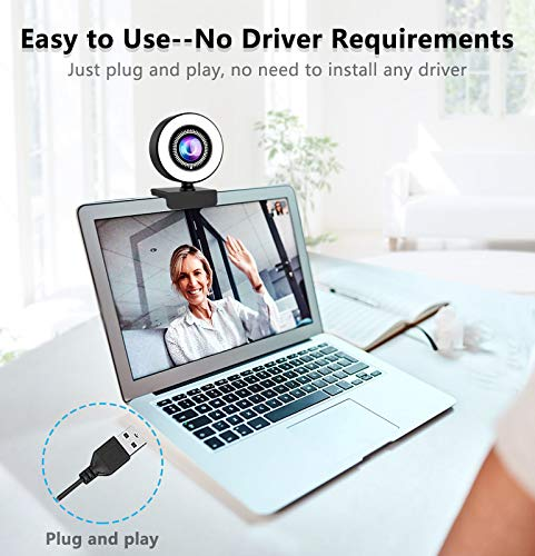 OVIFM Webcam für PC mit Mikrofon & Ringlicht, 2K HD Streaming Webcam für PC, Mac, Laptop, Plug and Play Webkamera für Skype, Zoom, Youtube, Xbox One, Videoanrufe, Lernen, Spielen, Konferenzen