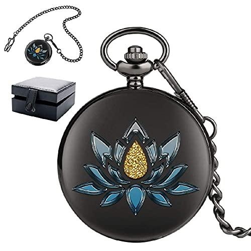 ZHAOJ Reloj de Bolsillo de Cuarzo Vintage para Mujer, Hermoso Reloj de Bolsillo con Flor Azul con Cadena, Esfera de números árabes, Regalo de cumpleaños de Navidad, Negro
