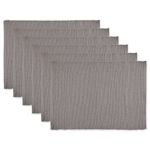 DII CAMZ36385 Platzsets aus Gerippter Baumwolle, Platzset, Grau, 6 Stück
