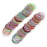 Tree-es-Life 300 unids/Set Círculo de Pelo para niños Accesorios para el Cabello Cuerda para el Cabello Multicolor para niños Diadema elástica para niña Colorido + Negro + Color de Primavera 3 cm