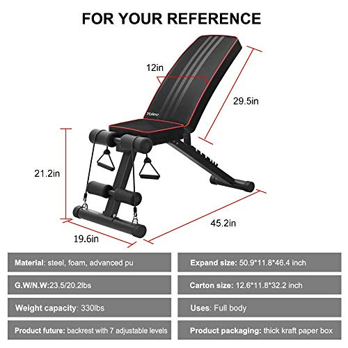 Bigzzia Adjustable Olympic Weight Bench - 7 Positions, 330 lbs Capacity, Folding Flat/Incline/Decline FID Bench, Perfect for Full Body Workout and Home Gym (Black)