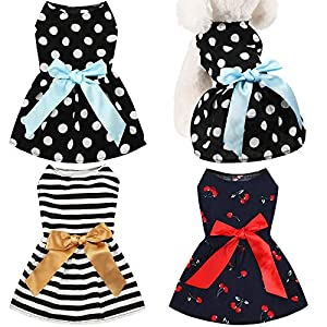 Geyoga 3 Pieces Pet Clothing Cute Dog Dress, Polka Dot, Cherries and Stripes with Elegant Ribbon Fabric Pet Apparel for Puppy Dogs and Cats on Wedding Holiday Christmas New Year
