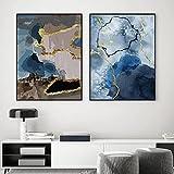 Póster abstracto de mármol azul dorado pintura de lienzo de moda moderna impresiones artísticas de pared minimalistas imagen para la decoración interior de la sala de estar sin marco-30x40cmx2