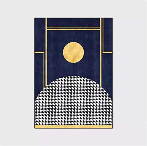 artkingdom Alfombra Alfombrillas decoración para Sala de Estar Alfombra Luna Azul Oscuro Enrejado Blanco y Negro Tamaño 80 * 160 cm