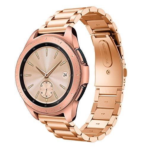 Syxinn Compatible con Correa Samsung Galaxy Watch 42mm/Galaxy Watch 3 41mm 20mm Acero Inoxidable Metal Banda Pulsera para Galaxy Watch Active/Active 2 40mm 44mm/Gear Sport/S2 Classic/Huawei Watch 2