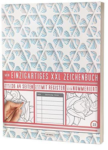 """Mein Einzigartiges XXL Zeichenbuch: 136 Seiten, Nummeriert, Register / Dickes Blanko Buch / PR601 """"3D Muster"""" / DIN A4 Soft Cover"""