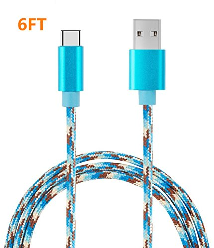 USB Type C Cable, Binguowang Nylon Braided USB Type C Long Cord Fast Charging Sync Cable for Samsung Galaxy S20 S10 S10E S9 S8 Plus Note 10 9 LG Google Pixel OnePlus,etc. (6FT Camo Blue)
