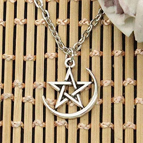 Collar Estrella Luna Colgante Cadena Cruzada Redonda Corta Larga Hombres Mujeres DIY Collar de Plata joyería Regalo