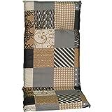 nxtbuy Gartenstuhl-Auflage Barcelona 118x50 cm Coffee Patchwork 6er Set - Hochlehnerauflage für Gartenstühle - Stuhlauflage mit Komfortschaumkern - Made in EU / ÖkoTex100