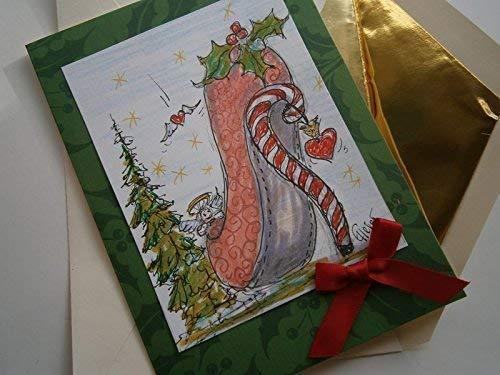 Weihnachtskarte Pumps handgemalt als Karte mit Schleife Engel Zuckerstange und Herz