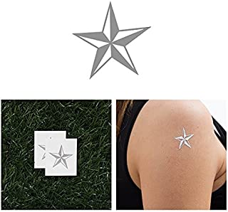 Tattify Silver Nautical Star Temporary Tattoo - Naval Star (Set of 2) - Other Styles Available - Fashionable Temporary Tattoos